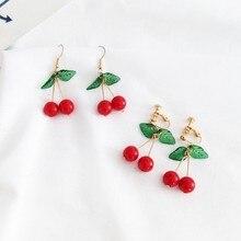 цена на Cute Red Cherry Drop Earrings For Women Sweet Fruit Fresh Cherry Pendant Earrings Female Student Ear Jewelry Couple Gifts