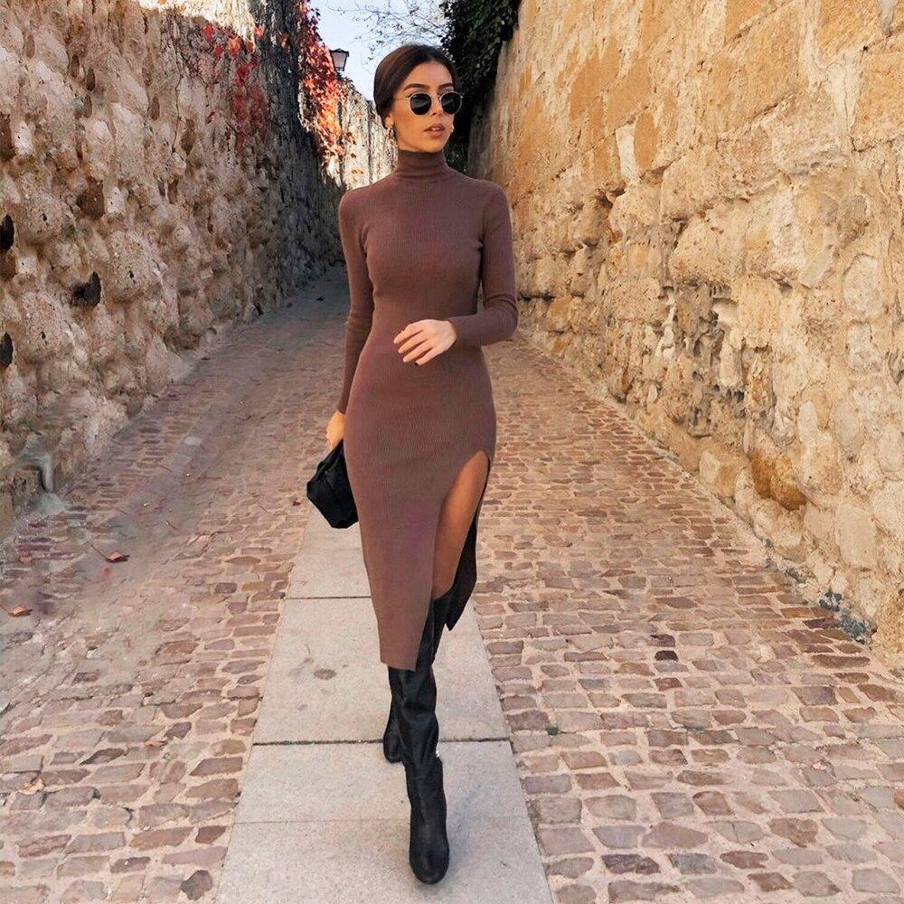 2021 Dress Women Long Sleeves High Neck Elastic Midi Dress Fashion Elegant...