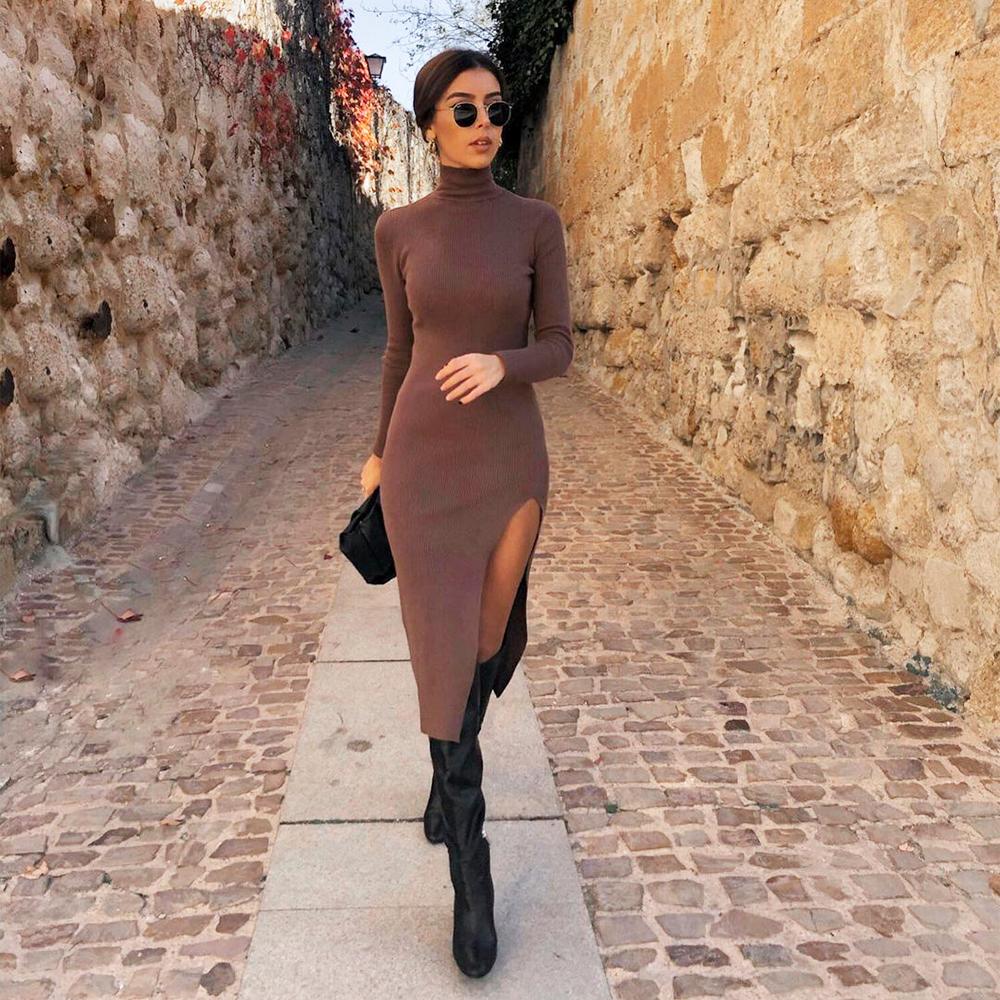2021 Dress Women Long Sleeves High-Neck Elastic Midi Dress Fashion Elegant Chic Lady Knit Sweater Dresses Women robe femme