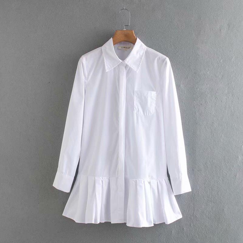 فستان حريمي جديد 2020 بلون واحد مطوي أبيض قصير أنيق بأكمام طويلة فساتين أنيقة حريمي أعمال DS3532|Dresses| - AliExpress