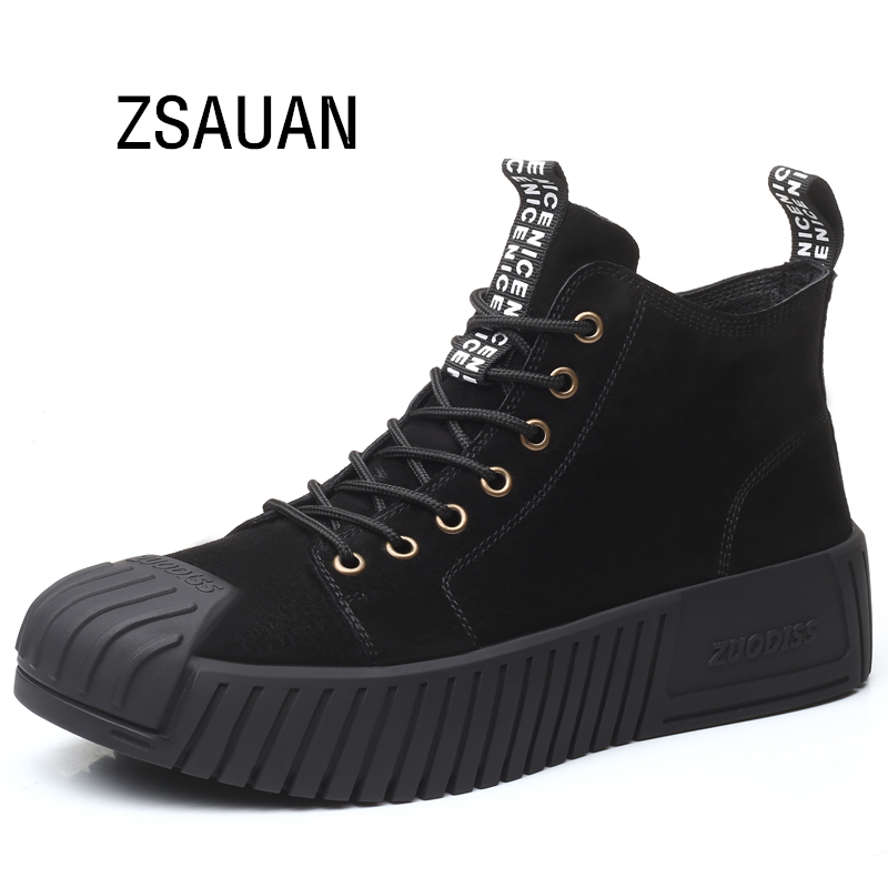 ZSAUAN Superb Handsome Men Chelsea Boots Lace-up Oxfords Suede Winter Men Boots Desert Round Toe Men Shoe Casual Height Increase