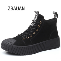 ZSAUAN Superb Handsome Men Chelsea Boots Lace up Oxfords Suede Winter Men Boots Desert Round Toe Men Shoe Casual Height Increase