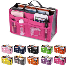 Ladies cosmetic bag storage double-layer multi-function portable solid color appearance