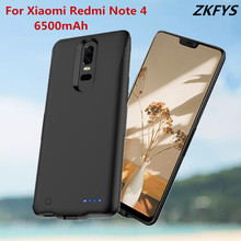 ZKFYS Battery Charging Case For Xiaomi Redmi Note 4 External Ultrathin Power Bank Cover 6500mAh High Quality