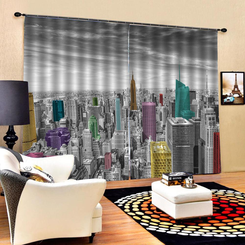 High quality custom 3d curtain fabric Photo 3D Curtains for Living Room Window curtains building curtains