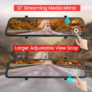 Image 5 - Dropshipping  2K+GPS Car DVR 12 Inch Touch IPS Mirror Dual Lens Dashcam Car Cam G sensor Video Recorder With Rear View