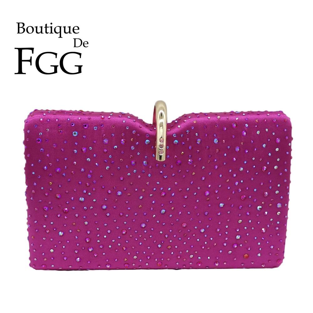 Boutique De FGG Hot Pink Women Crystal Clutches Evening Handbags Diamond Wedding Cocktail Clutch Bags