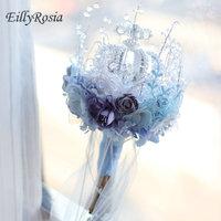 Dusty Blue Crown Crystal Bridal Bouquet Architecture Style Bride Holding Flowers Expensive Wedding Decoration Bouquet Unique