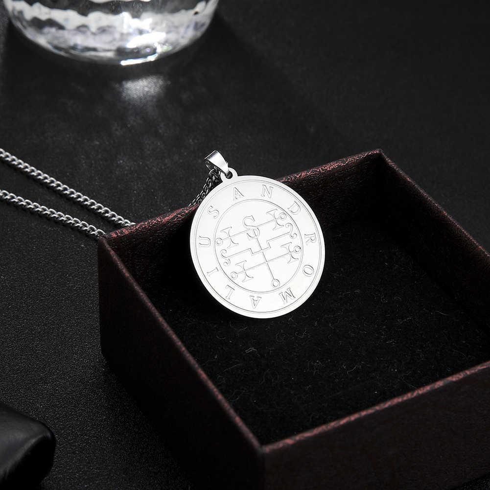 LIKGREAT stalowy wisiorek naszyjnik Mighty Earl Andromalius mniejszy klucz salomona pieczęć kabała talizman biżuteria w stylu Vintage