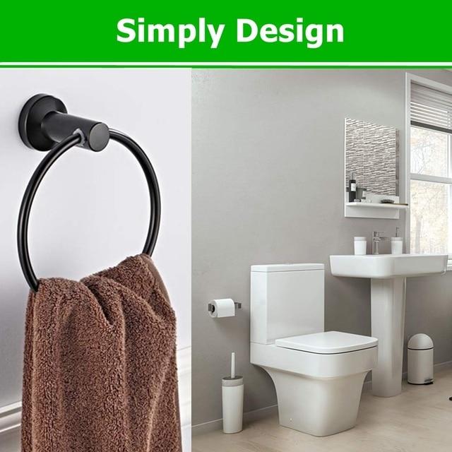Towel Ring Black Bathroom Hand Towel Holder Ring Polished Shiny Black Bath Towels Hanger Hook Round Rustproof Stainless Steel Towel Rings Aliexpress