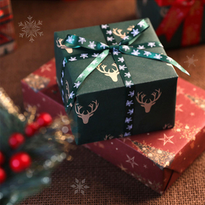 Christmas Gift Wrapping Paper With Fabric Christmas Ribbon For New Year 2021 Present Packaging Material 53* 74cm