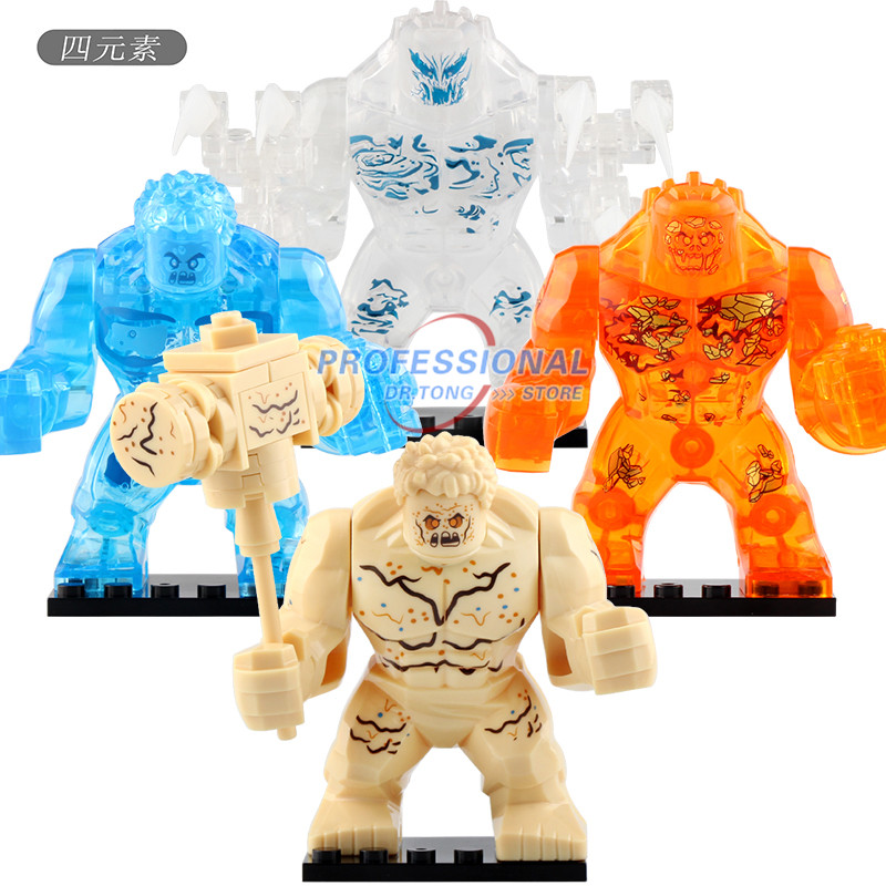 Single Big Size the Elementals Crocodile Hulk Iron Man Spider Man Super Hero Models Children Building Blocks Toys <font><b>XH1255</b></font>-XH1258 image