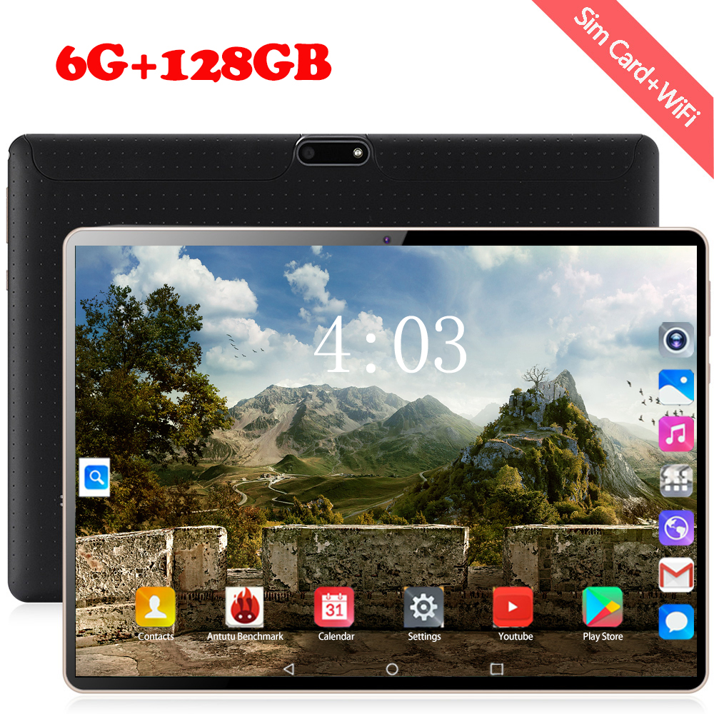 10 Inch Tablet PC 6+128GB Android 8.0 Google Store 10 Core 1920*1200 IPS Dual SIM Card 4G Phone Call Android  WIFI Tablets 10.1