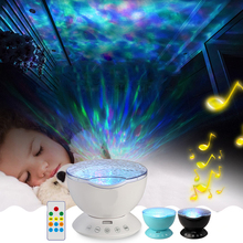Ocean Wave Projector USB Lamp led Night light Remote Control With Music Player Speaker Timer function For kids Bedroom Decor