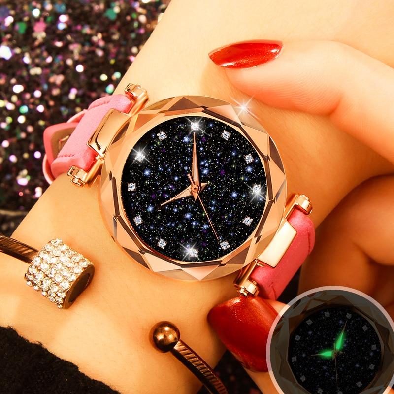 New Starry Sky Women Bracelet Watches Fashion Elegant Luminous Leather Wristwatch Luxury Rose Gold Quartz Clock relogio feminino
