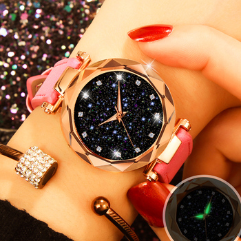 цена на New Starry Sky Women Bracelet Watches Fashion Elegant Luminous Leather Wristwatch Luxury Rose Gold Quartz Clock relogio feminino