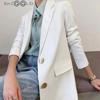 Free Shipping Fashion Spring Autumn New White Blazer Women Jacket Work Wear Slim Suit Coats White Student Wear Clohtes  1