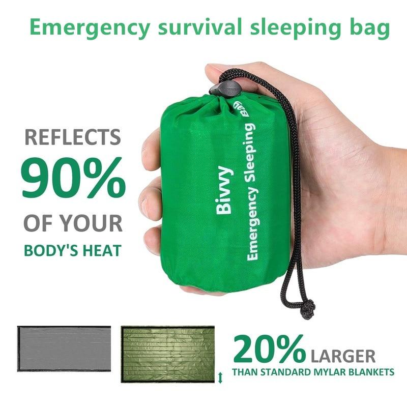 Sac de couchage thermique étanche d'urgence, couverture de survie pour camping, randonnées et activités de plein air 1
