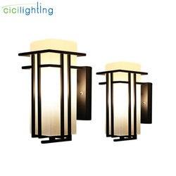 Schwarz outdoor wand lampe, Metall + Glas schatten garten lampe außenwand lichter, antike post balkon veranda wandleuchter beleuchtung