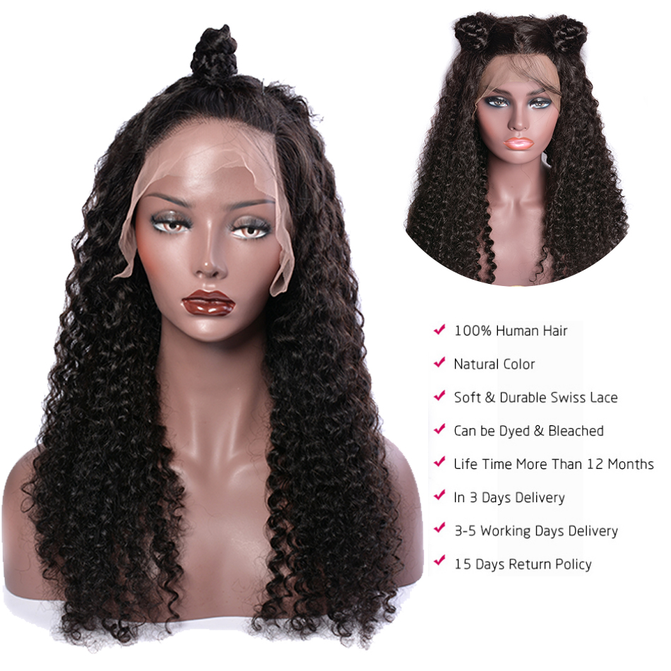 Curly Human Hair Wig Remy Brazilian Wig Natural Hair Lace Front Human Hair Wigs PrePlucked And Bleached Knots Lace Wig For Women-in Human Hair Lace Wigs from Hair Extensions & Wigs    2