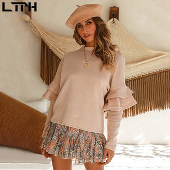 Hot 2019 autumn and winter new fashion casual women's stitching long-sleeved ruffled round neck loose solid color pullover sweat 2019 autumn new european and american women s personality stitching ruffled long sleeved round neck slim bag hip dress