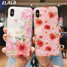 Marble Phone Case For iPhone 7 11 Case Silicone Glitter Flower Leaf Conch Shell Cover For iPhone 6s 7 8 Plus XR X XS Max 11 Case leaf print iphone case