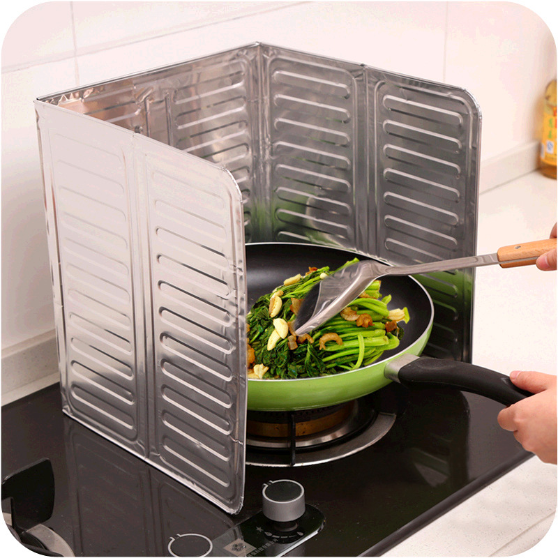 Kitchen Oil Separation Aluminum Foil Plate Stove Oil Baffle Plate Creative Kitchen Supplies Cooking Insulated Anti-spill Hot Baf