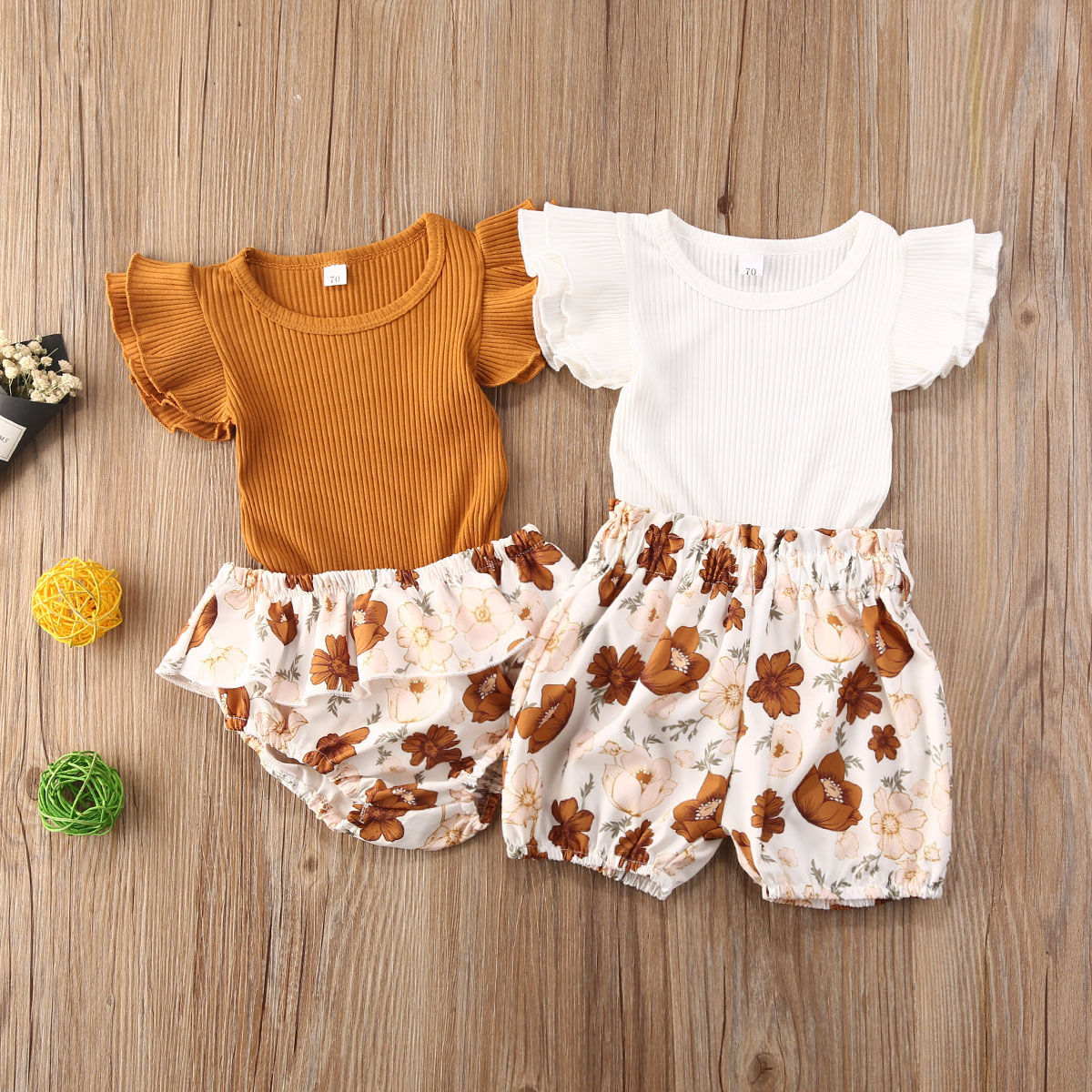 6 Summer Toddler Baby Girl Clothes Fly Sleeve Knitted Romper Tops Floral  Shorts Pants Boho Baby Set 6pcs Outfits Holiday