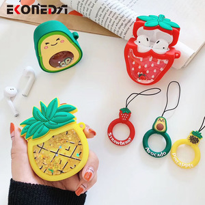 Image 4 - EKONEDA Liquid Glitter Protective Case For Airpods Strawberry Pineapple Avocado Silicone Cover For Airpods Case airpod pro shell
