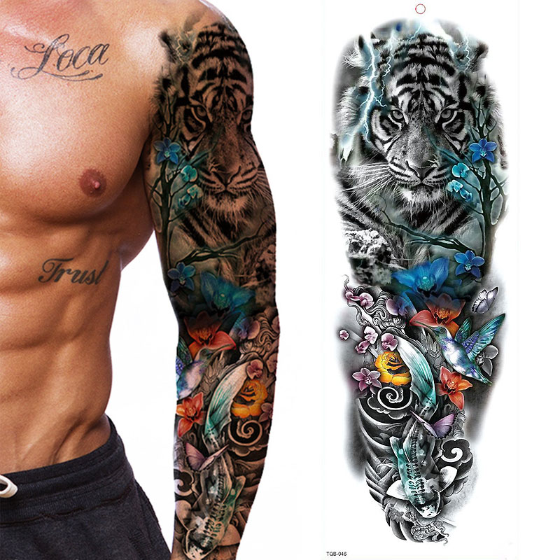 Large Arm Sleeve Tattoo Waterproof T