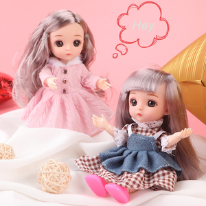 New 16cm BJD Mini Doll Girl Baby 3D Eyes Beautiful Toy Doll with Clothes Dress Up 1/8 Dolls(China)