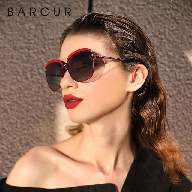 BARCUR Polarized Ladies Sunglasses Women Gradient Lens Round Sun glasses Square Luxury Brand oculos lunette de soleil femme 2