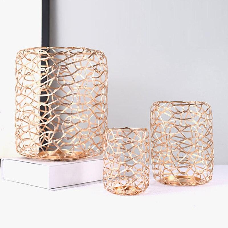 3 Pcs Nordic Romantische Diner Kandelaars Geometrische Kandelaar Iron Kaarshouder Voor Wedding Party Home Decor Gift