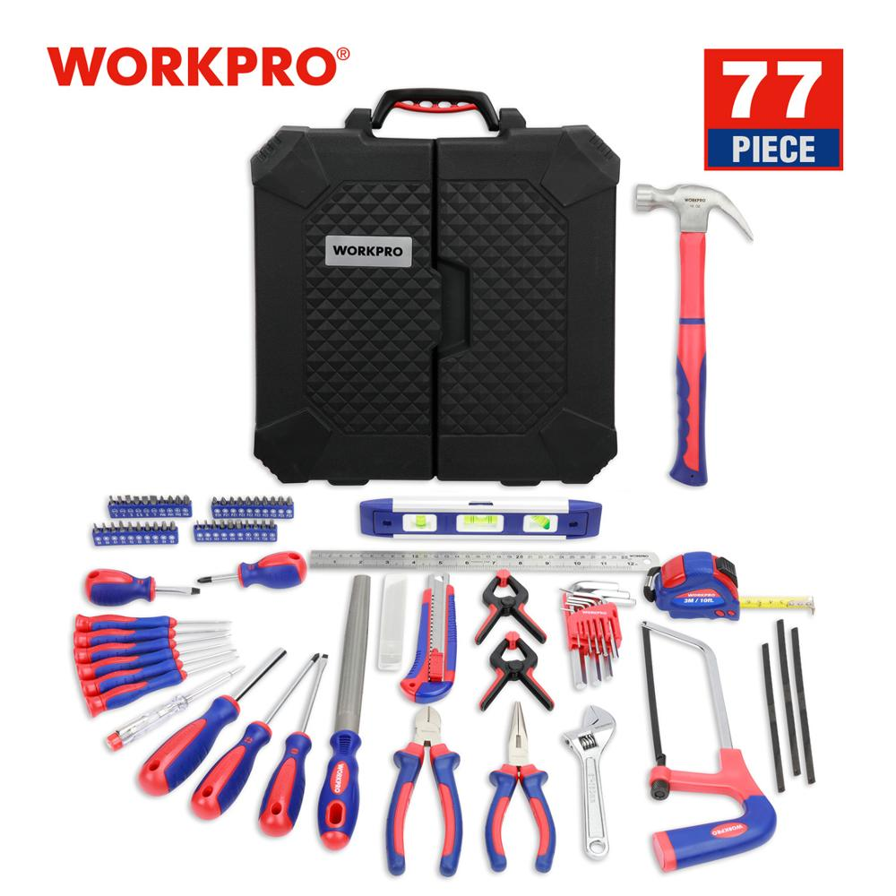 WORKPRO 77PC Tool Set For Home Repair Household Tool Kits Screwdrivers Pliers Scissor Knife Hammer 2019 New
