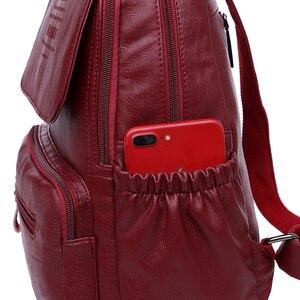 Image 5 - 2019 المرأة حقيبة ظهر مصنوعة من الجلد عالية الجودة السيدات على ظهره الفاخرة مصمم سعة كبيرة عادية Daypack كيس دوس فتاة Mochilas