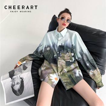 CHEERART Forest Print Oversized Shirt Women Long Sleeve Top And Bloues Blue Green Button Up Shirt Daisy Floral Blouse Clothes 1