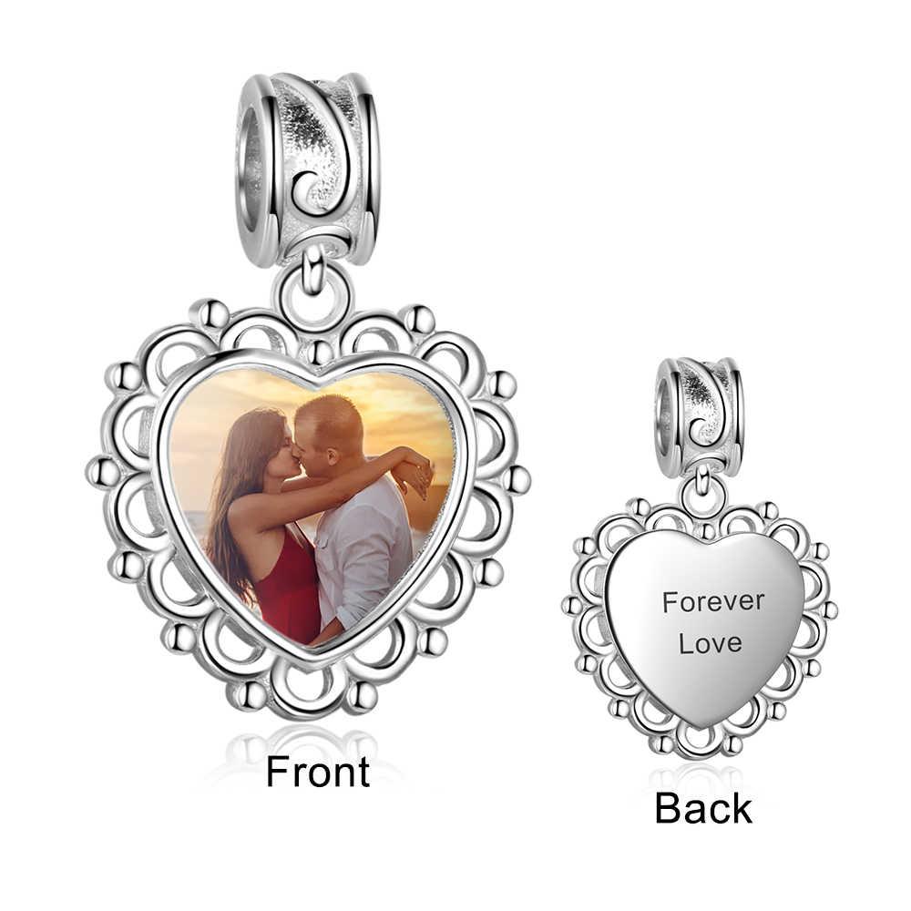 Персонализированные сердца подвески для самостоятельного изготовления ювелирных изделий фото на заказ Гравировка бусины для браслетов Подарок на годовщину (JewelOra AS101987)