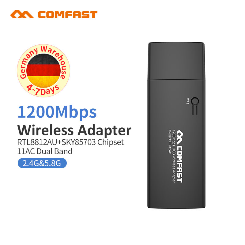 COMFAST CF-912AC 2.4G/5.8GHz Dual-Band 802.11 Ac 1200Mbps Gigabit Dual Band USB 3.0 WI-FI WIFI WIRELESS ADAPTER Network Cards