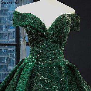 Image 5 - דובאי ירוק תחרה עד נצנצים חתונה שמלות 2020 מתוקה סקסי יוקרה כלה שמלות Serene היל HM66742 תפור לפי מידה