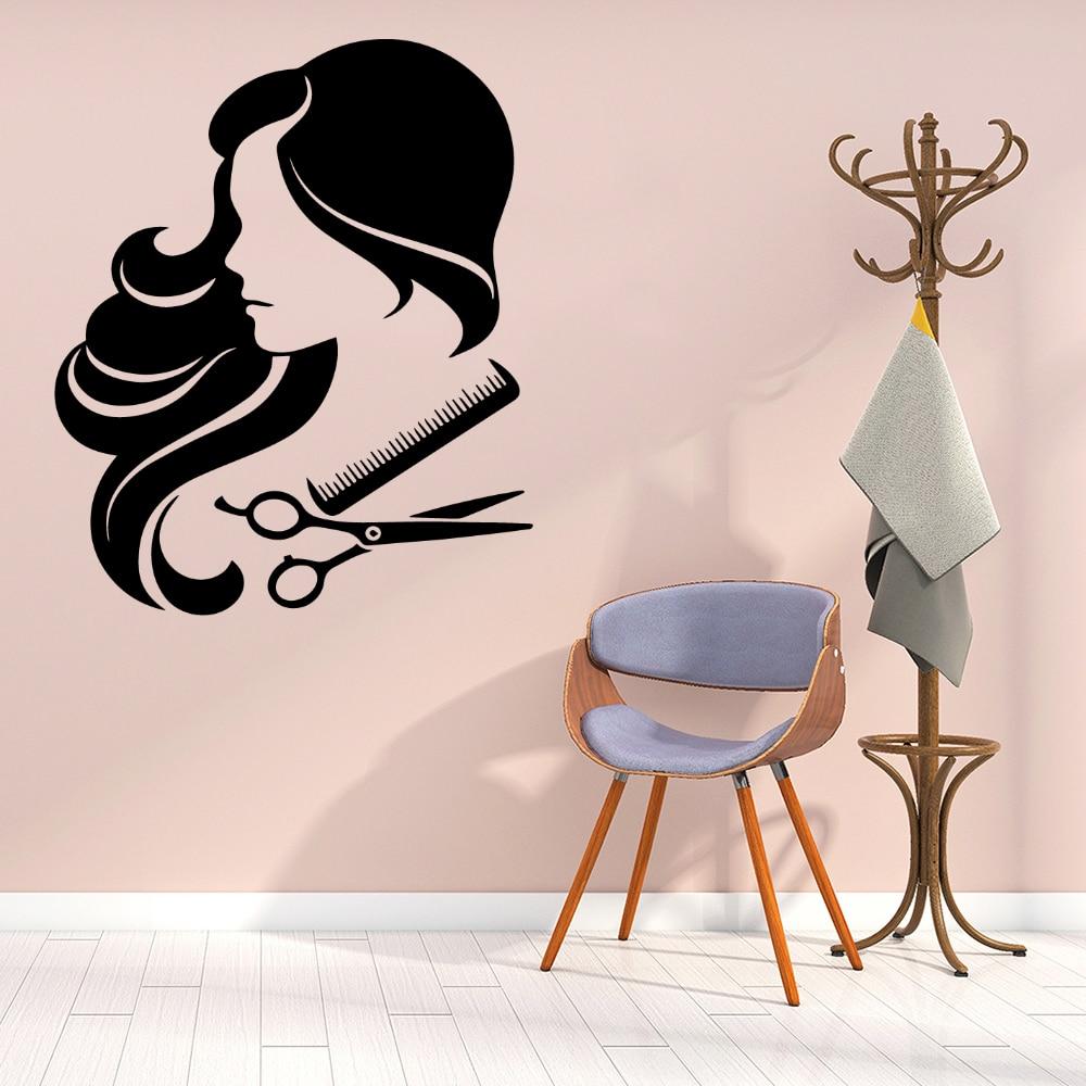Горячая Распродажа, женские Украшения для волос, настенные наклейки для парикмахера, настенные Стикеры, виниловые настенные наклейки для п...