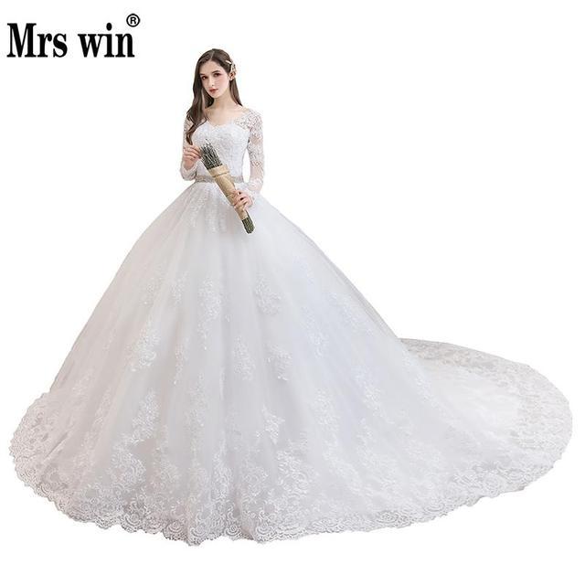 فستان زفاف 2020 كم كامل مثير على شكل v سويب تراين الكرة ثوب الأميرة الفاخرة الدانتيل Vestido De Noiva فستان الزفاف حجم كبير