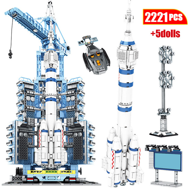 City Creator spaceship RC Technic Aerospace Rocket Building Blocks Remote Control Carrier Space Launch Bricks Toys For Boys
