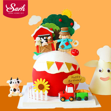 Happy Farm Cow Horse Train scarecrow Clay Cake Toppers for Children's Day Party Baby Happy Birthday Supplies Lovely Gifts