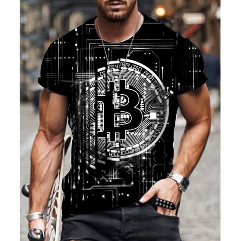 2021 Hot Loose Short Sleeve sports mens T-shirt big round neck bitcoin 3D printing leisure and breathable fitness men wear 2