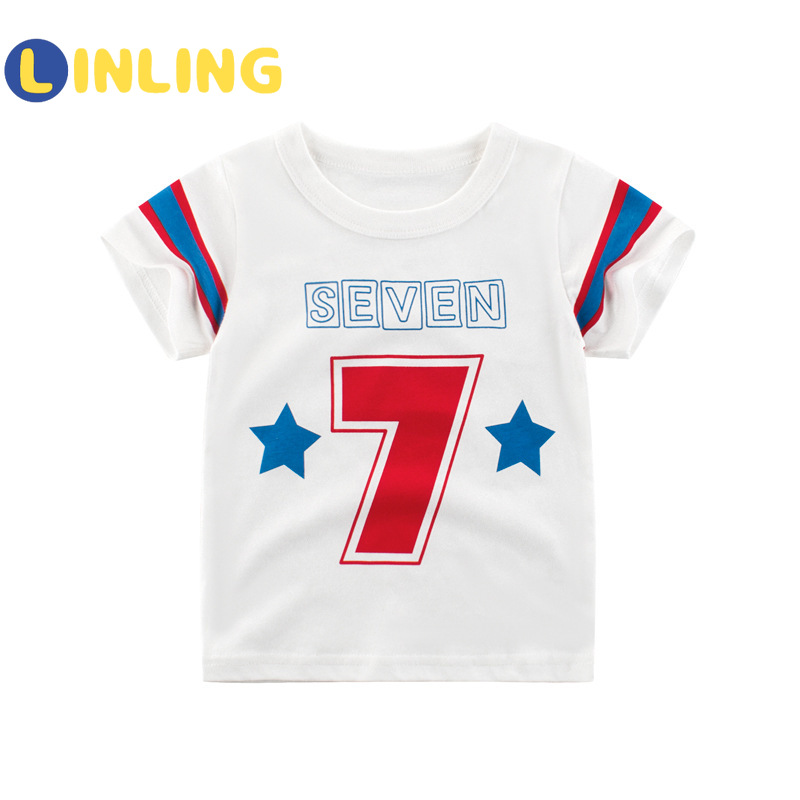 LINLING Kids T Shirts 2021 Summer Boys Girls Letter Cute Short Sleeve T Shirts Baby Child Cotton Tops Tees Fashion Clothes V17 2