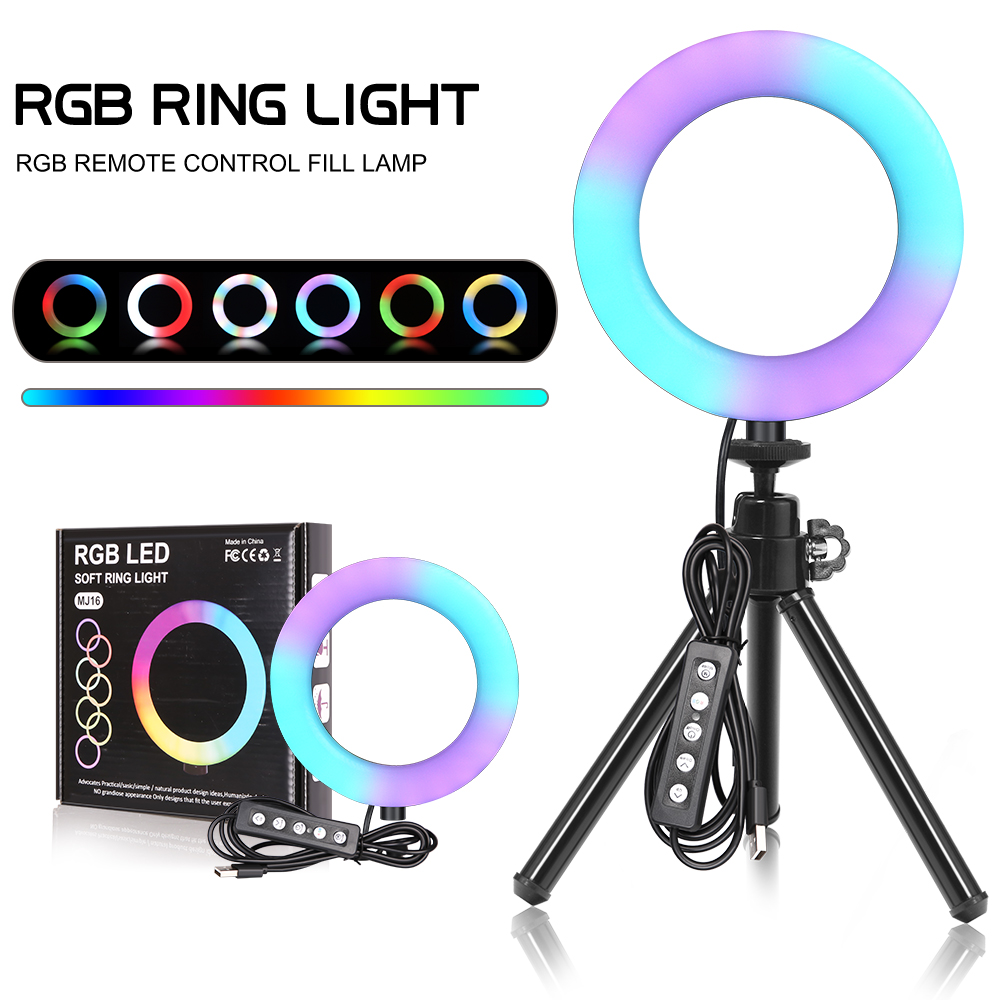 6inch RGB LED Ring Light Selfie Video Ring Lamp With Tripod Stand USB Plug 15 Colors 3 Model For YouTube Live Makeup Photography
