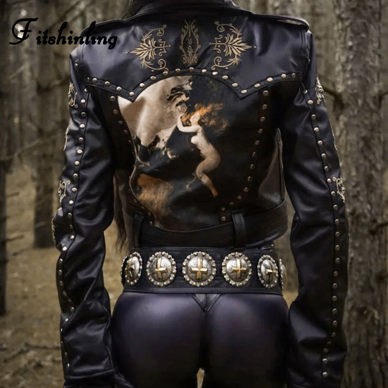 Fitshinling Embroidery Vintage Gothic PU Jackets For Women Belt Sashes Winter Coat Female Faux Leather Zipper Cropped Jacket New