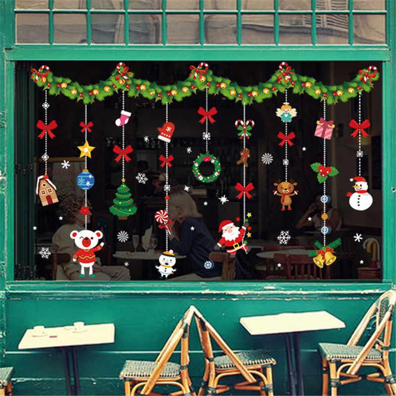メリークリスマスステッカーサンタクロース鹿クリスマスツリーfrozensスノーフレーク壁の窓のステッカー装飾品ナヴィダード2021新年の装飾