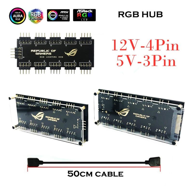 RGB Hub Interface 12V 4 PIN 5V 3 Pin Splitter HUB For Power Supply Port SATA ASUS AURA SYNC Cable Motherboard Fan