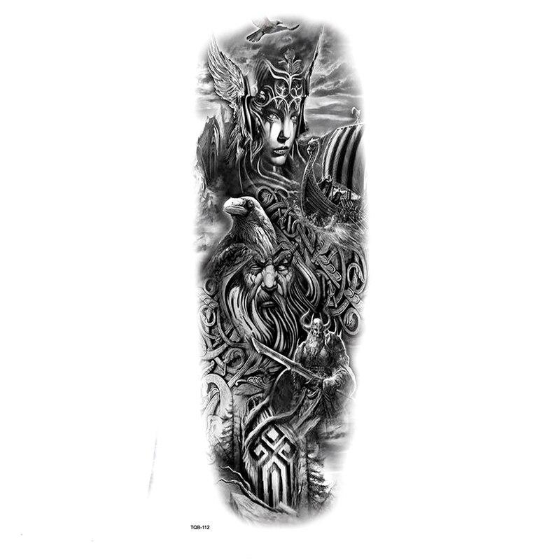 Nordic Mythology Odin War God Full Arm Waterproof Temporary Tattoos Men Kit Tattoo Arm Sleeves Tatoo Stickers Fake Tatoo Men